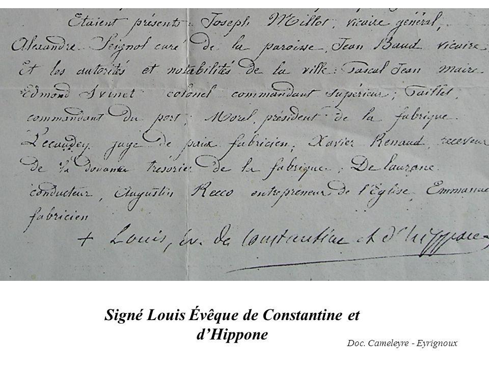 Signé Louis Évêque de Constantine et d'Hippone Doc. Cameleyre - Eyrignoux