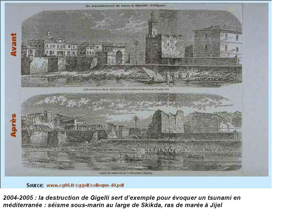 2004-2005 : la destruction de Gigelli sert d'exemple pour évoquer un tsunami en méditerranée : séisme sous-marin au large de Skikda, ras de marée à Ji