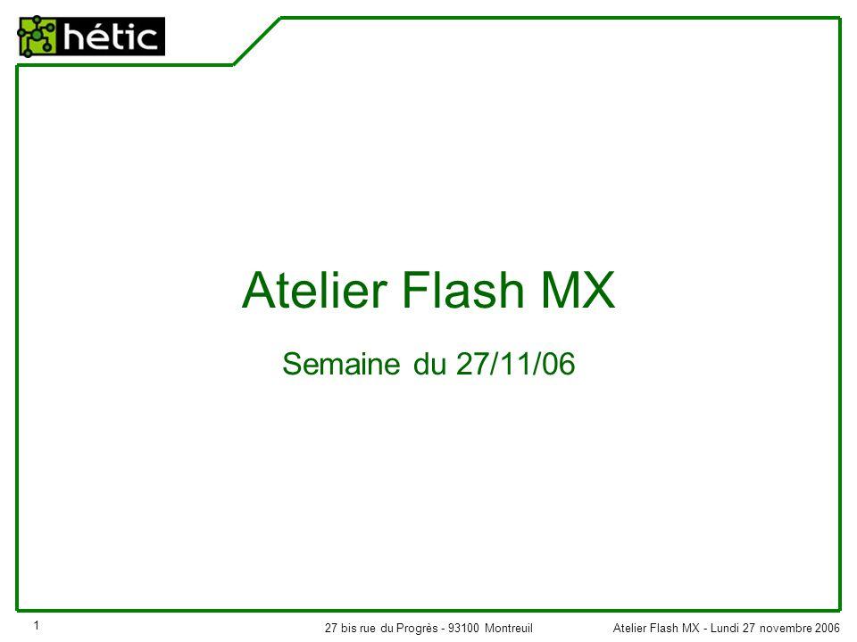 Atelier Flash MX - Lundi 27 novembre 200627 bis rue du Progrès - 93100 Montreuil 1 Atelier Flash MX Semaine du 27/11/06