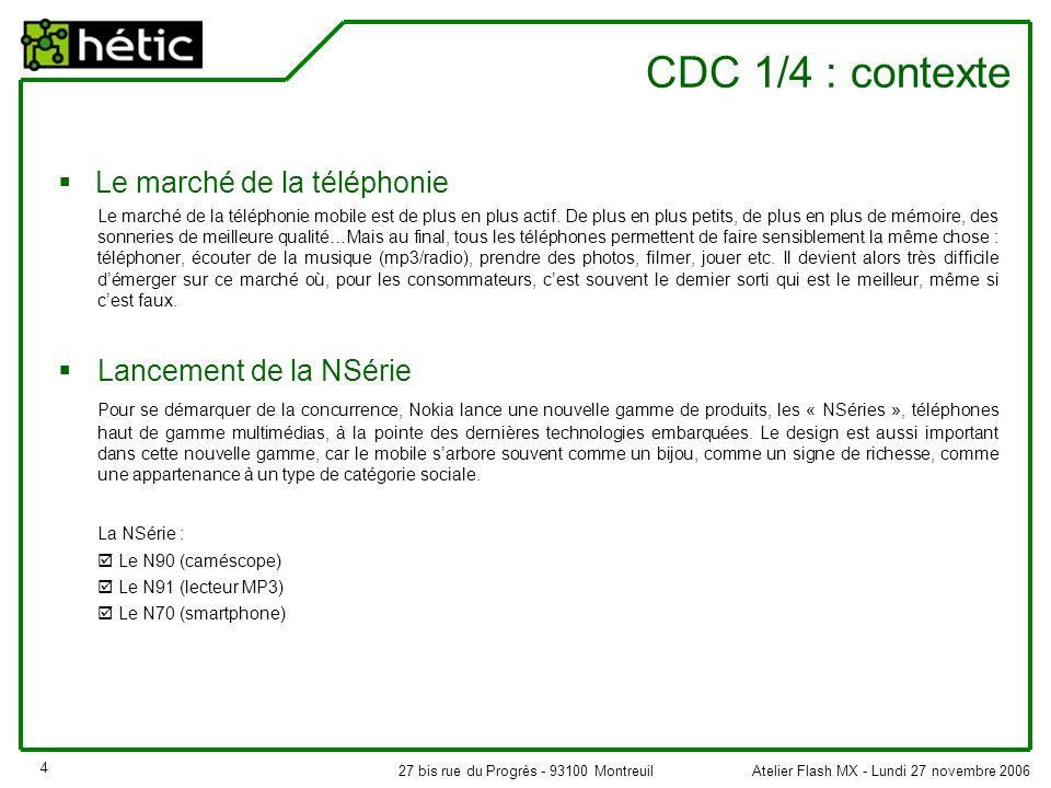 Atelier Flash MX - Lundi 27 novembre 200627 bis rue du Progrès - 93100 Montreuil 4 CDC 1/4 : contexte  Le marché de la téléphonie Le marché de la téléphonie mobile est de plus en plus actif.