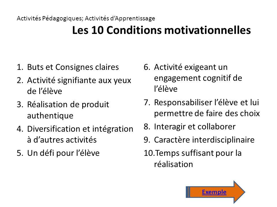 Activités Pédagogiques; Activités d'Apprentissage Les 10 Conditions motivationnelles 1.Buts et Consignes claires 2.Activité signifiante aux yeux de l'élève 3.Réalisation de produit authentique 4.Diversification et intégration à d'autres activités 5.Un défi pour l'élève 6.Activité exigeant un engagement cognitif de l'élève 7.Responsabiliser l'élève et lui permettre de faire des choix 8.Interagir et collaborer 9.Caractère interdisciplinaire 10.Temps suffisant pour la réalisation Exemple