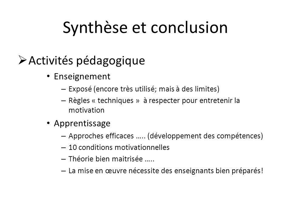 Synthèse et conclusion  Activités pédagogique • Enseignement – Exposé (encore très utilisé; mais à des limites) – Règles « techniques » à respecter pour entretenir la motivation • Apprentissage – Approches efficaces …..