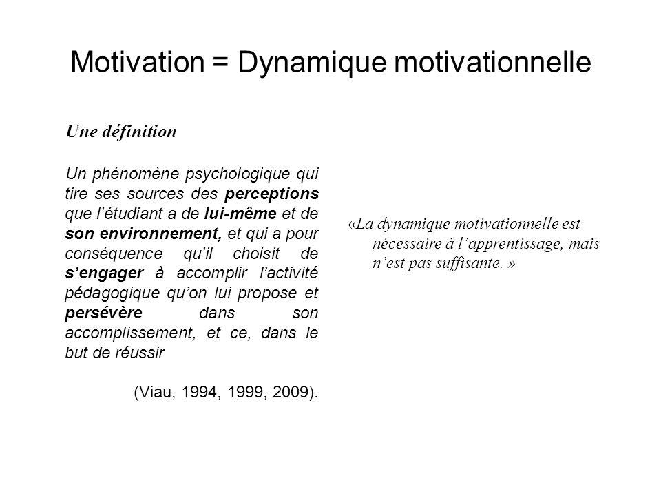 Motivation = Dynamique motivationnelle Une définition Un phénomène psychologique qui tire ses sources des perceptions que l'étudiant a de lui-même et de son environnement, et qui a pour conséquence qu'il choisit de s'engager à accomplir l'activité pédagogique qu'on lui propose et persévère dans son accomplissement, et ce, dans le but de réussir (Viau, 1994, 1999, 2009).