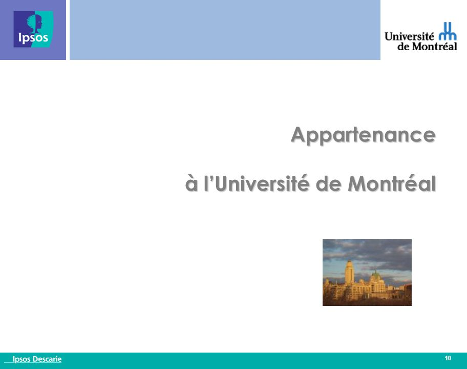 10 Appartenance à l'Université de Montréal
