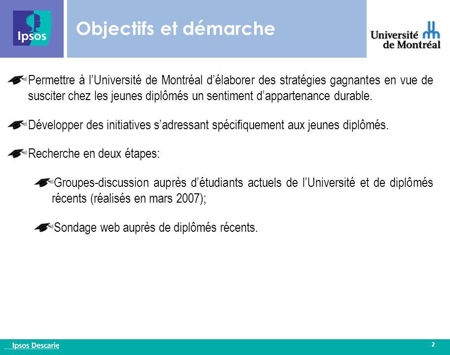 2 Objectifs et démarche Permettre à l'Université de Montréal d'élaborer des stratégies gagnantes en vue de susciter chez les jeunes diplômés un sentiment d'appartenance durable.
