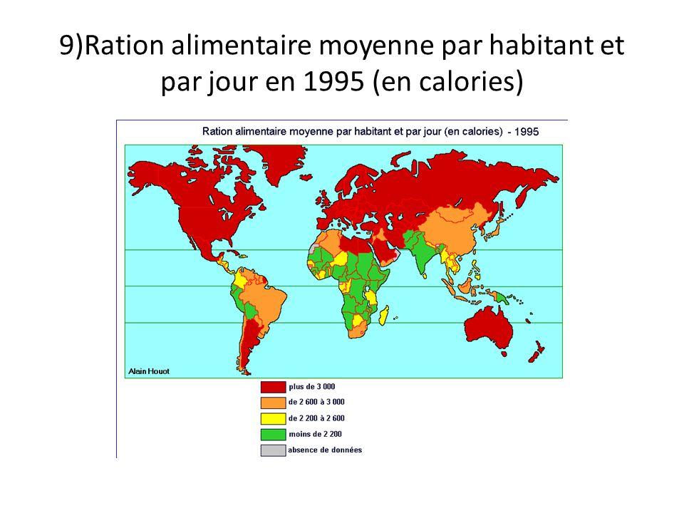 9)Ration alimentaire moyenne par habitant et par jour en 1995 (en calories)