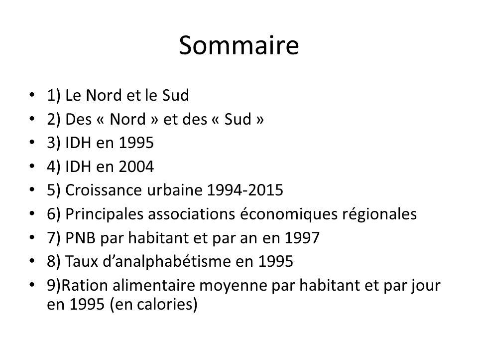 Sommaire • 1) Le Nord et le Sud • 2) Des « Nord » et des « Sud » • 3) IDH en 1995 • 4) IDH en 2004 • 5) Croissance urbaine 1994-2015 • 6) Principales