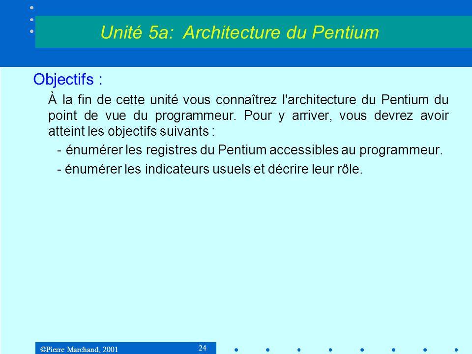 ©Pierre Marchand, 2001 24 Objectifs : À la fin de cette unité vous connaîtrez l'architecture du Pentium du point de vue du programmeur. Pour y arriver