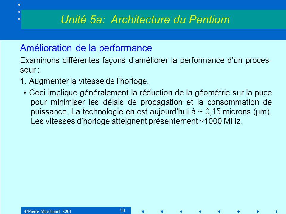 ©Pierre Marchand, 2001 34 Amélioration de la performance Examinons différentes façons d'améliorer la performance d'un proces- seur : 1.Augmenter la vi