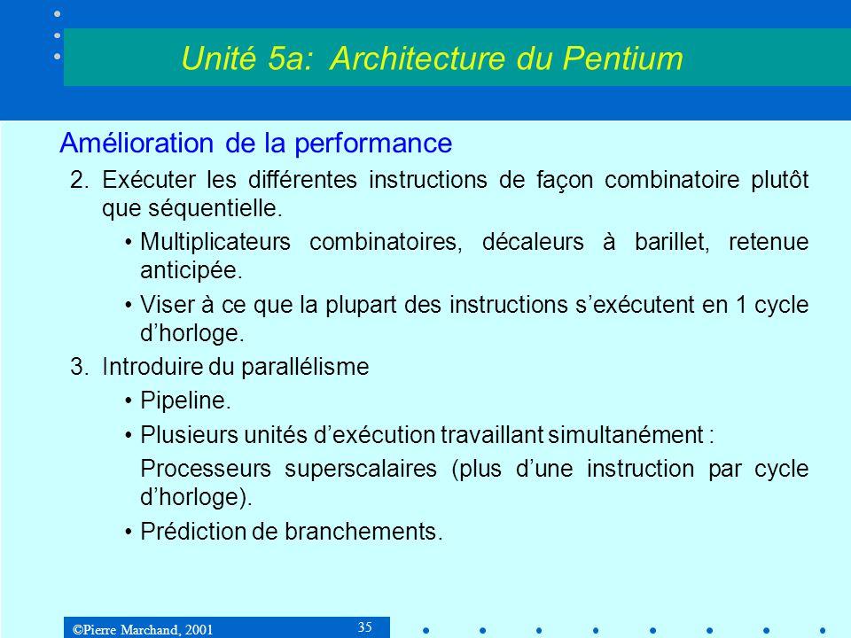 ©Pierre Marchand, 2001 35 Amélioration de la performance 2.Exécuter les différentes instructions de façon combinatoire plutôt que séquentielle. •Multi