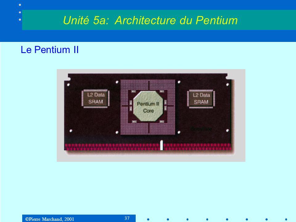©Pierre Marchand, 2001 37 Le Pentium II Unité 5a: Architecture du Pentium