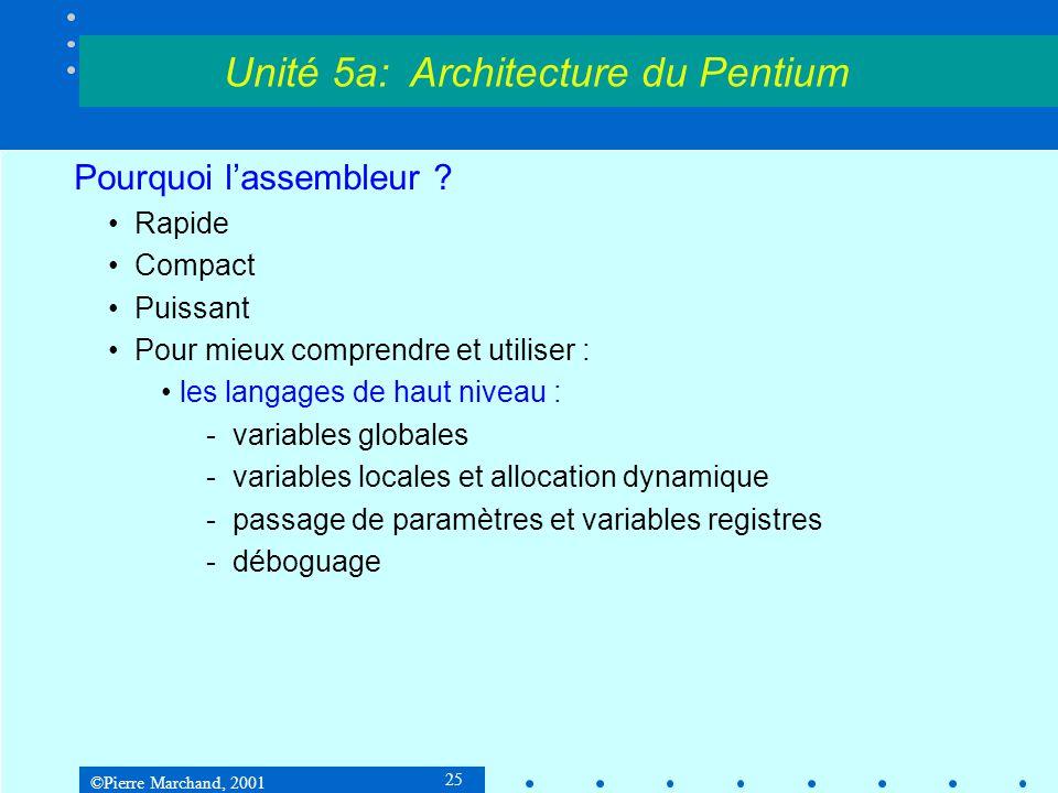 ©Pierre Marchand, 2001 25 Pourquoi l'assembleur ? •Rapide •Compact •Puissant •Pour mieux comprendre et utiliser : •les langages de haut niveau : -vari