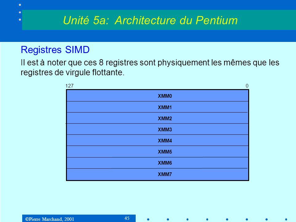 ©Pierre Marchand, 2001 45 Registres SIMD Il est à noter que ces 8 registres sont physiquement les mêmes que les registres de virgule flottante. Unité