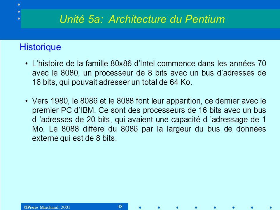 ©Pierre Marchand, 2001 48 Historique •L'histoire de la famille 80x86 d'Intel commence dans les années 70 avec le 8080, un processeur de 8 bits avec un