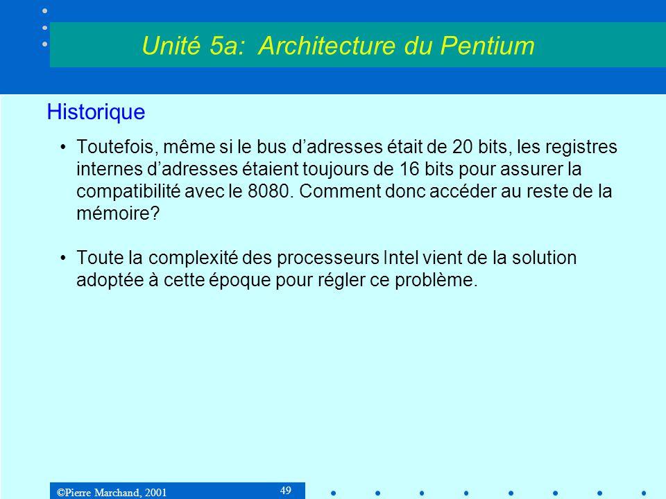 ©Pierre Marchand, 2001 49 Historique •Toutefois, même si le bus d'adresses était de 20 bits, les registres internes d'adresses étaient toujours de 16