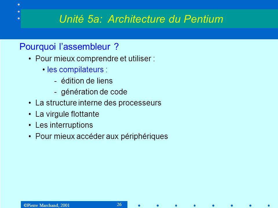 ©Pierre Marchand, 2001 57 Historique Descripteur de segment Base = adresse de départ du segment Limit = taille du segment : 0 à 1 méga-unités G = granularité : unité = 1 octet si G = 0 ou 4 Ko si G = 1 Unité 5a: Architecture du Pentium 31 16150 limit 0-15base 0-15 63484732 base 16-23 base 24-31 D P L GDO limit 16-19 A V L 39 P S = 0 A Type Droits d accès 56