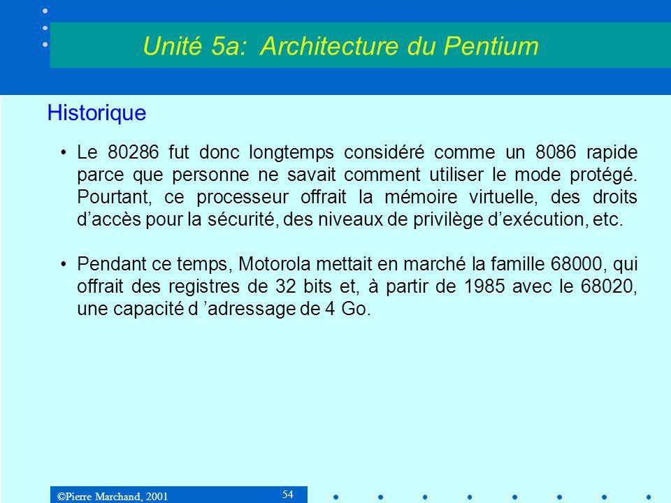 ©Pierre Marchand, 2001 54 Historique •Le 80286 fut donc longtemps considéré comme un 8086 rapide parce que personne ne savait comment utiliser le mode
