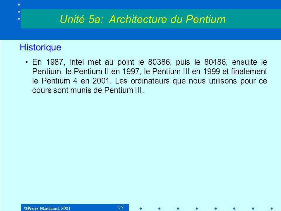 ©Pierre Marchand, 2001 55 Historique •En 1987, Intel met au point le 80386, puis le 80486, ensuite le Pentium, le Pentium II en 1997, le Pentium III e