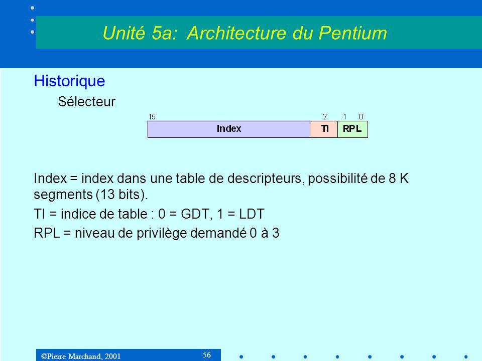 ©Pierre Marchand, 2001 56 Historique Sélecteur Index = index dans une table de descripteurs, possibilité de 8 K segments (13 bits). TI = indice de tab
