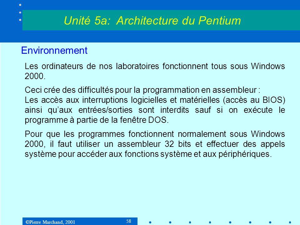 ©Pierre Marchand, 2001 58 Environnement Les ordinateurs de nos laboratoires fonctionnent tous sous Windows 2000. Ceci crée des difficultés pour la pro