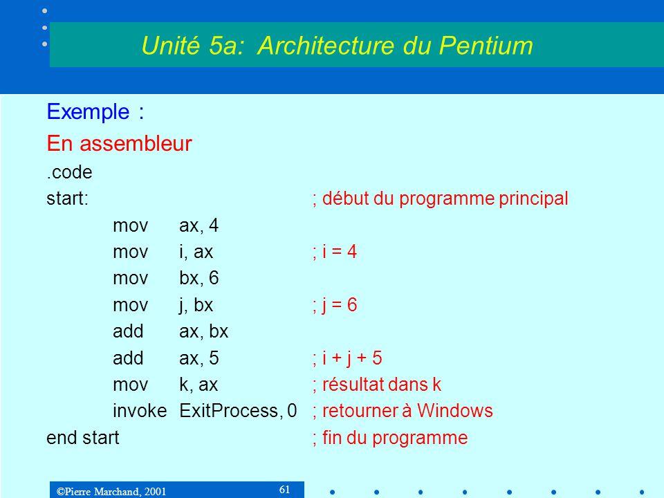©Pierre Marchand, 2001 61 Exemple : En assembleur.code start:; début du programme principal movax, 4 movi, ax; i = 4 movbx, 6 movj, bx; j = 6 addax, b