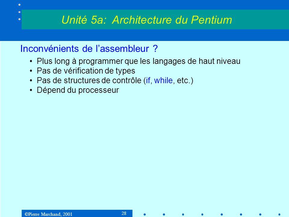 ©Pierre Marchand, 2001 28 Inconvénients de l'assembleur ? •Plus long à programmer que les langages de haut niveau •Pas de vérification de types •Pas d