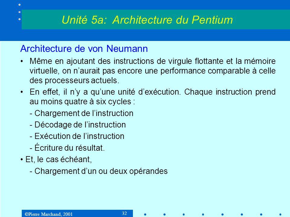 ©Pierre Marchand, 2001 33 Architecture de von Neumann Or les processeurs actuels effectuent en moyenne plus d'une instruction par cycle.