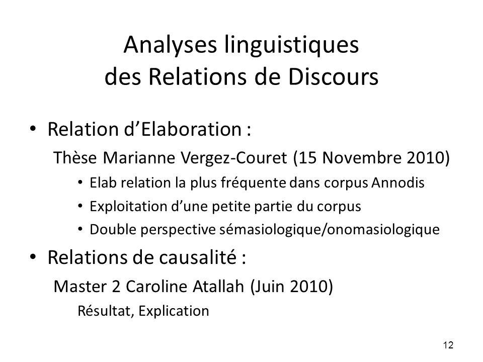 Analyses linguistiques des Relations de Discours • Relation d'Elaboration : Thèse Marianne Vergez-Couret (15 Novembre 2010) • Elab relation la plus fr