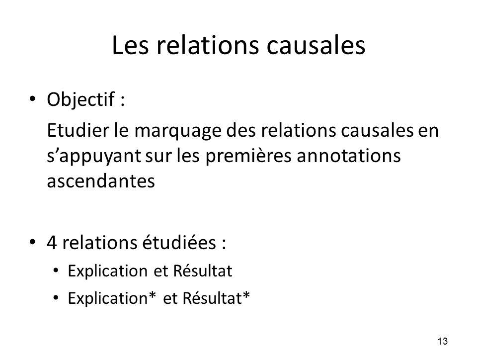 Les relations causales • Objectif : Etudier le marquage des relations causales en s'appuyant sur les premières annotations ascendantes • 4 relations é