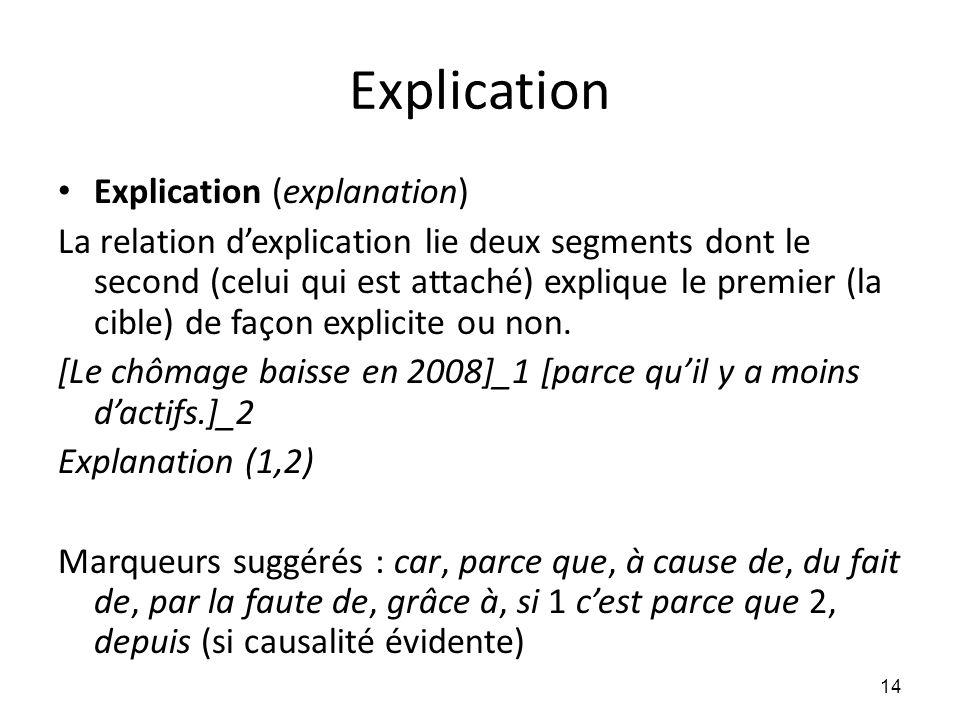 Explication • Explication (explanation) La relation d'explication lie deux segments dont le second (celui qui est attaché) explique le premier (la cib