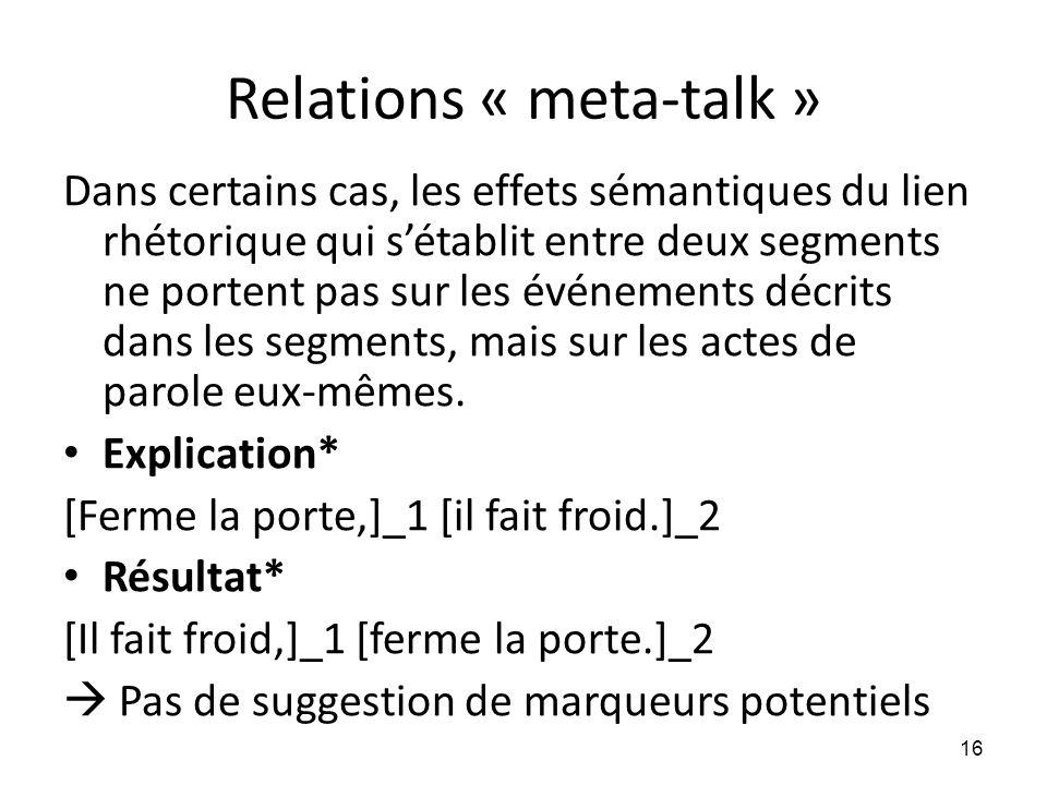 Relations « meta-talk » Dans certains cas, les effets sémantiques du lien rhétorique qui s'établit entre deux segments ne portent pas sur les événemen