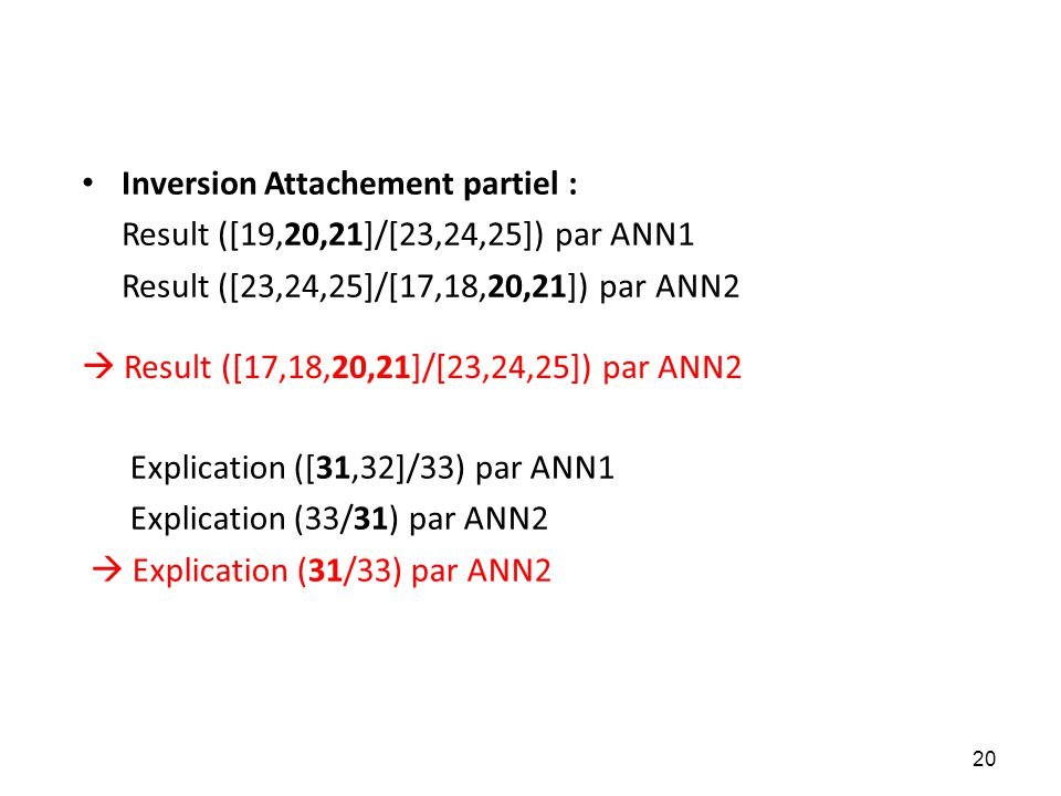 • Inversion Attachement partiel : Result ([19,20,21]/[23,24,25]) par ANN1 Result ([23,24,25]/[17,18,20,21]) par ANN2 Explication ([31,32]/33) par ANN1 Explication (33/31) par ANN2  Explication (31/33) par ANN2  Result ([17,18,20,21]/[23,24,25]) par ANN2 20