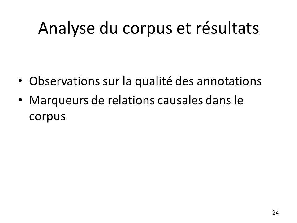 Analyse du corpus et résultats • Observations sur la qualité des annotations • Marqueurs de relations causales dans le corpus 24