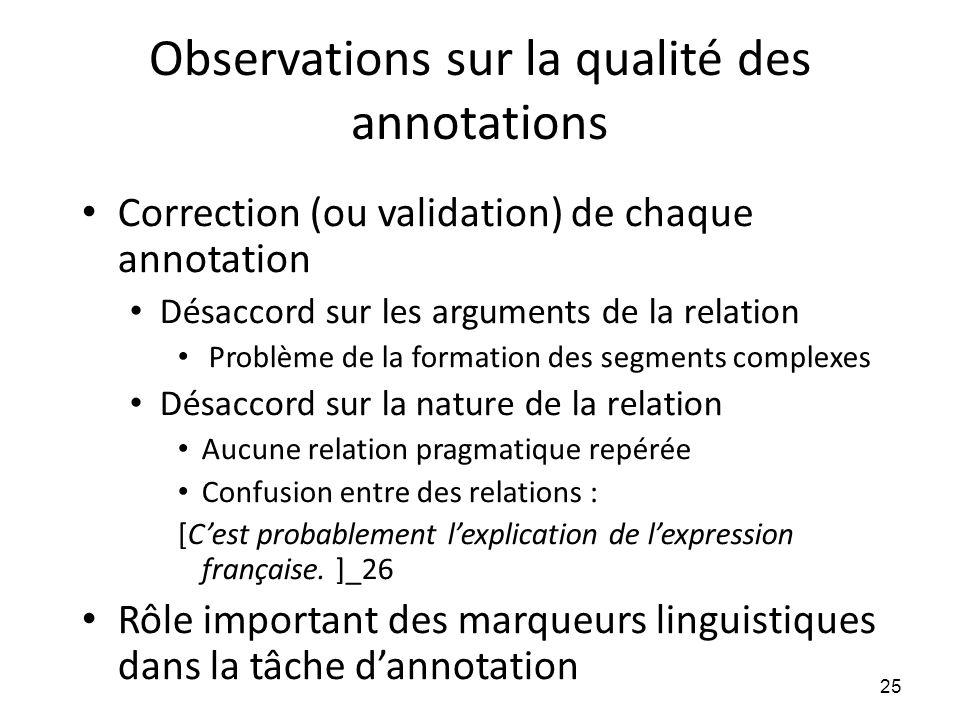 Observations sur la qualité des annotations • Correction (ou validation) de chaque annotation • Désaccord sur les arguments de la relation • Problème
