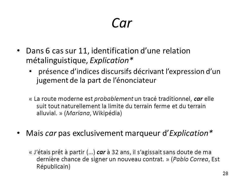 Car • Dans 6 cas sur 11, identification d'une relation métalinguistique, Explication* • présence d'indices discursifs décrivant l'expression d'un juge