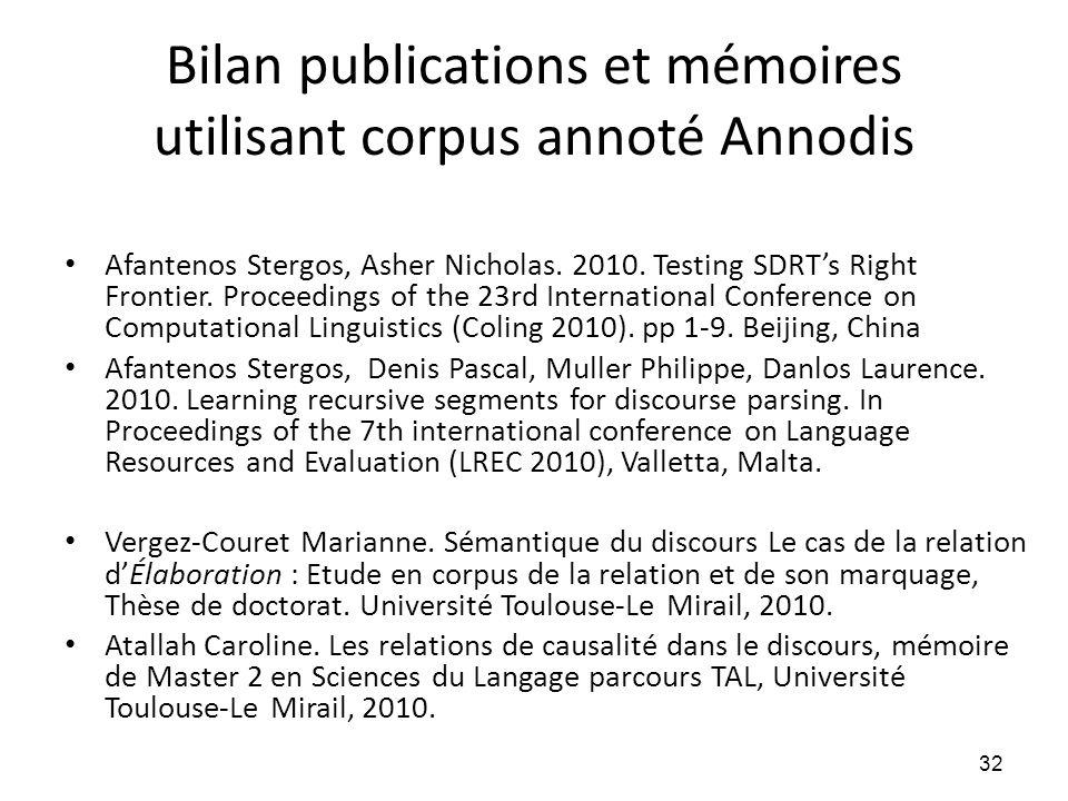 Bilan publications et mémoires utilisant corpus annoté Annodis • Afantenos Stergos, Asher Nicholas. 2010. Testing SDRT's Right Frontier. Proceedings o