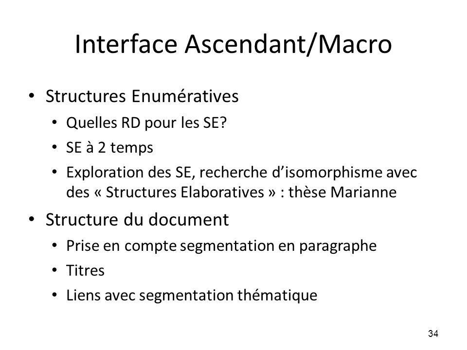 Interface Ascendant/Macro • Structures Enumératives • Quelles RD pour les SE? • SE à 2 temps • Exploration des SE, recherche d'isomorphisme avec des «