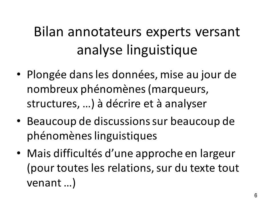 Bilan annotateurs experts versant analyse linguistique • Plongée dans les données, mise au jour de nombreux phénomènes (marqueurs, structures, …) à dé
