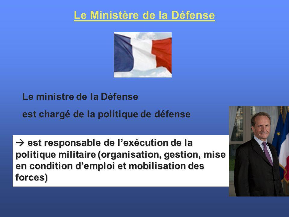  est responsable de l'exécution de la politique militaire (organisation, gestion, mise en condition d'emploi et mobilisation des forces) Le Ministère