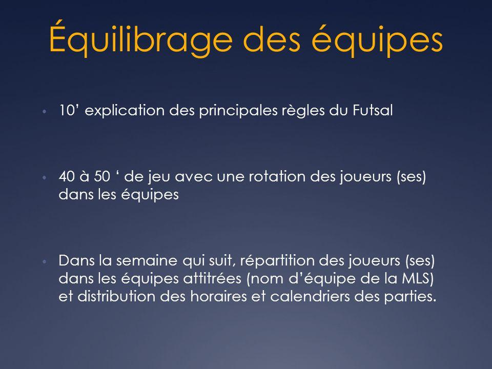 Équilibrage des équipes • 10' explication des principales règles du Futsal • 40 à 50 ' de jeu avec une rotation des joueurs (ses) dans les équipes • Dans la semaine qui suit, répartition des joueurs (ses) dans les équipes attitrées (nom d'équipe de la MLS) et distribution des horaires et calendriers des parties.