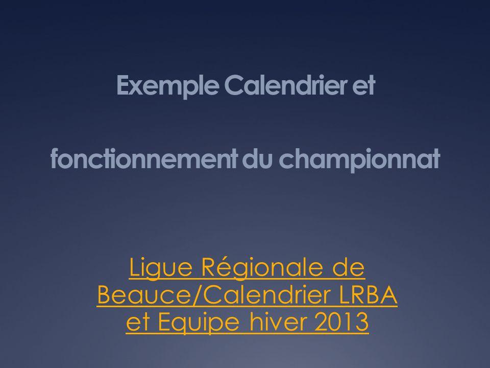 Exemple Calendrier et fonctionnement du championnat Ligue Régionale de Beauce/Calendrier LRBA et Equipe hiver 2013