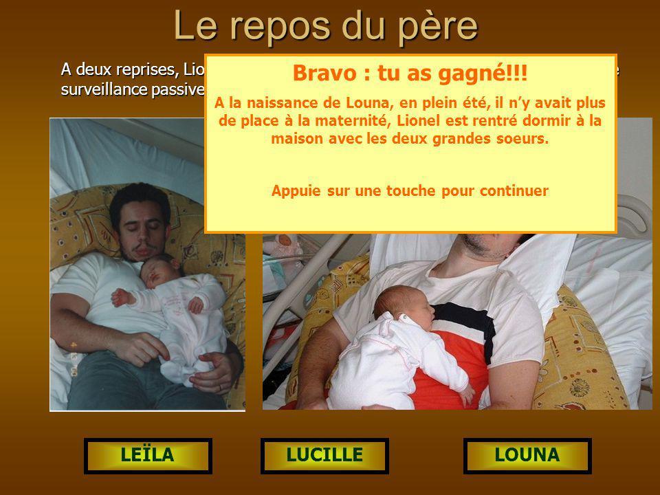 LOUNALUCILLELEÏLA Le repos du père A deux reprises, Lionel a été photographié à la maternité en flagrant délit de surveillance passive de la nouvelle née.