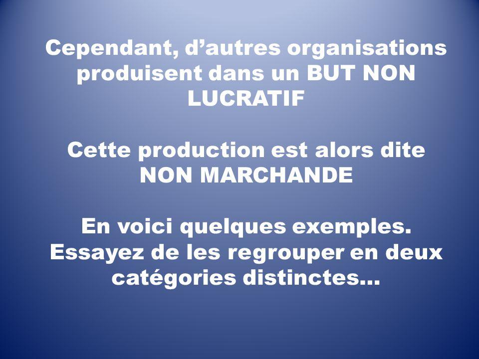 Cependant, d'autres organisations produisent dans un BUT NON LUCRATIF Cette production est alors dite NON MARCHANDE En voici quelques exemples.