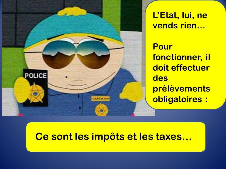L'Etat, lui, ne vends rien… Pour fonctionner, il doit effectuer des prélèvements obligatoires : Ce sont les impôts et les taxes…