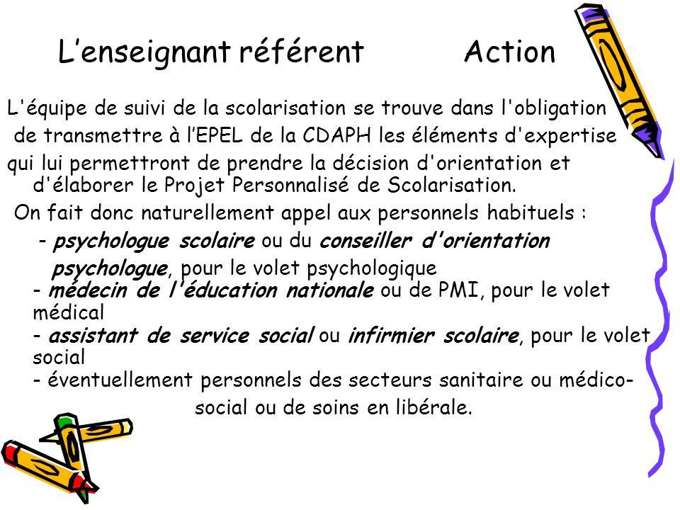 L'enseignant référent Action L'équipe de suivi de la scolarisation se trouve dans l'obligation de transmettre à l'EPEL de la CDAPH les éléments d'expe