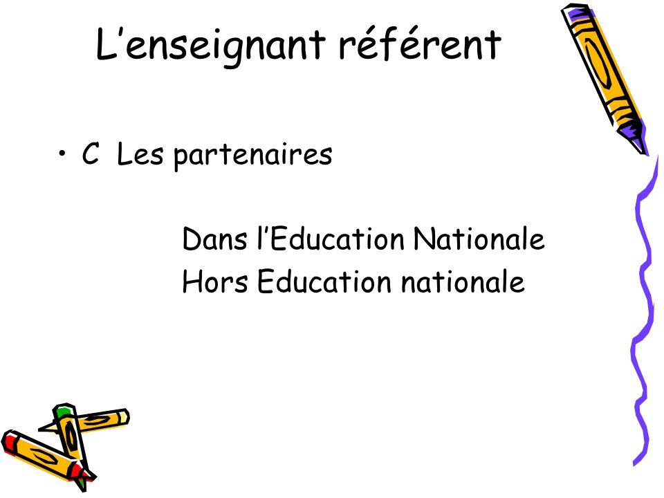 L'enseignant référent •C Les partenaires Dans l'Education Nationale Hors Education nationale