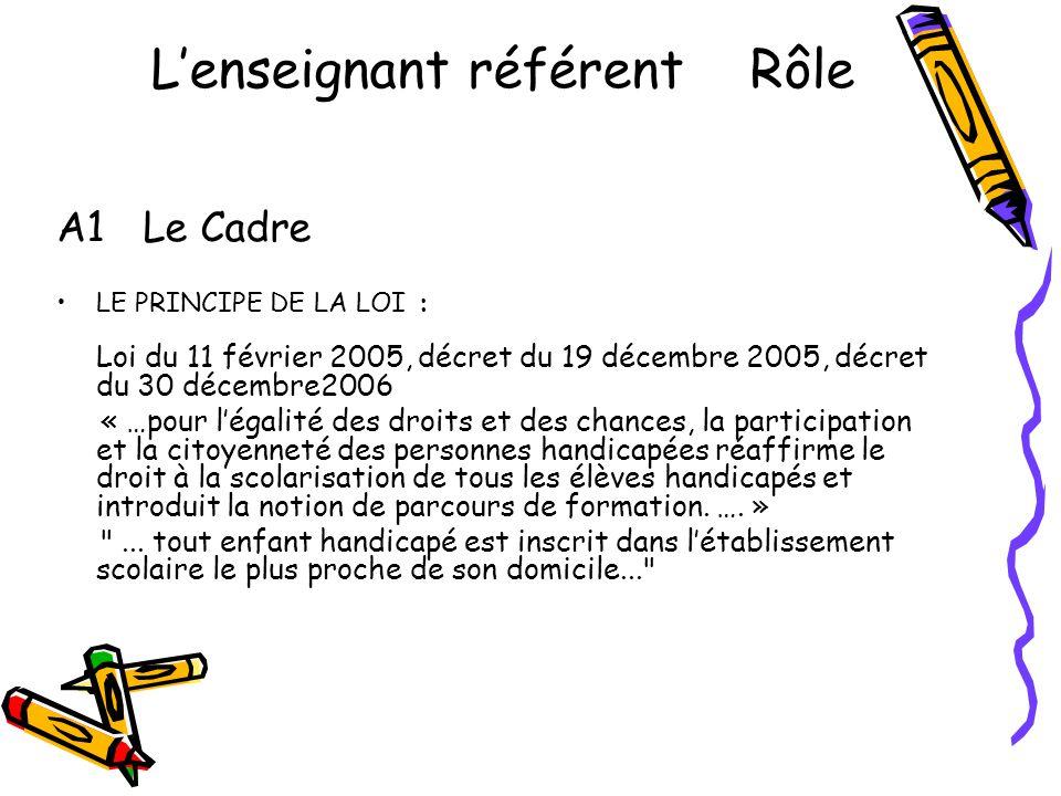 L'enseignant référent Rôle A1 Le Cadre •LE PRINCIPE DE LA LOI : Loi du 11 février 2005, décret du 19 décembre 2005, décret du 30 décembre2006 « …pour