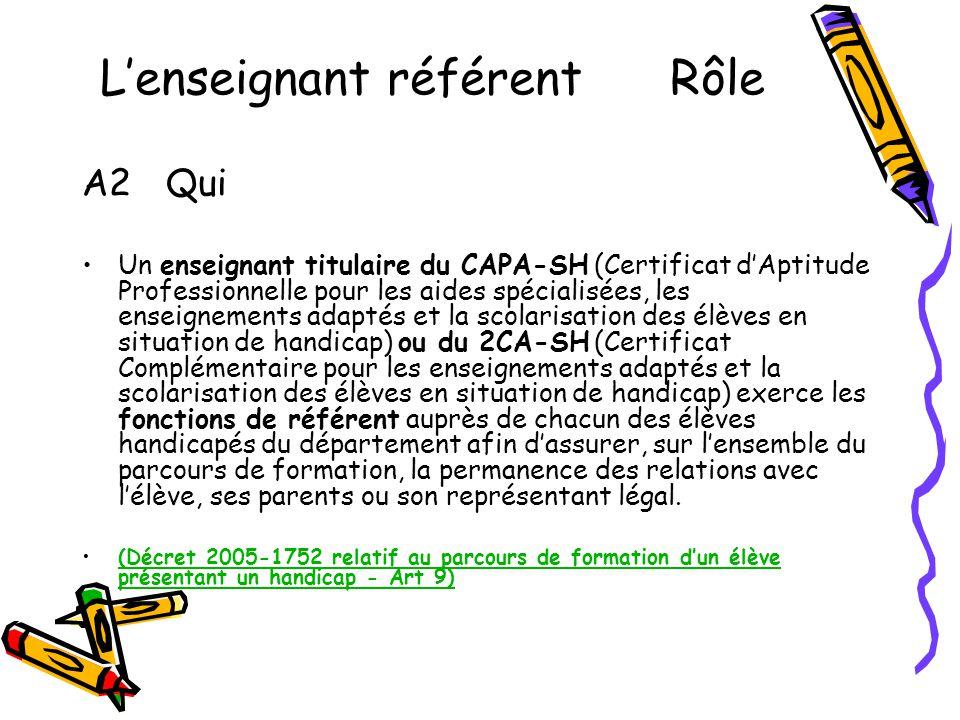 L'enseignant référent Rôle A2 Qui •Un enseignant titulaire du CAPA-SH (Certificat d'Aptitude Professionnelle pour les aides spécialisées, les enseigne