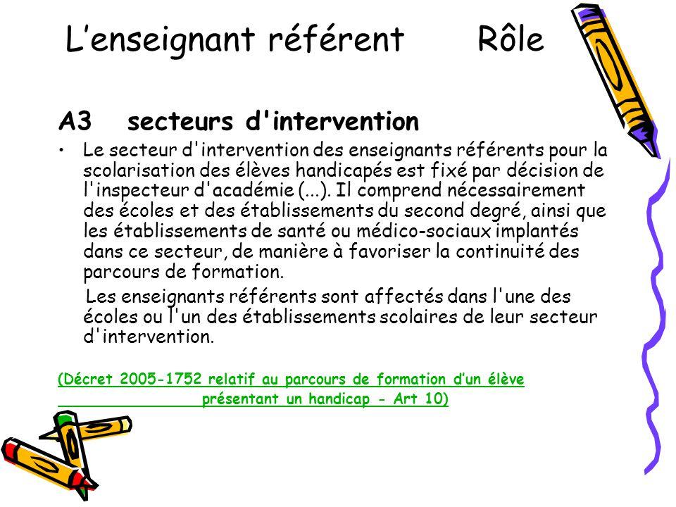 L'enseignant référent Rôle A3 secteurs d'intervention •Le secteur d'intervention des enseignants référents pour la scolarisation des élèves handicapés