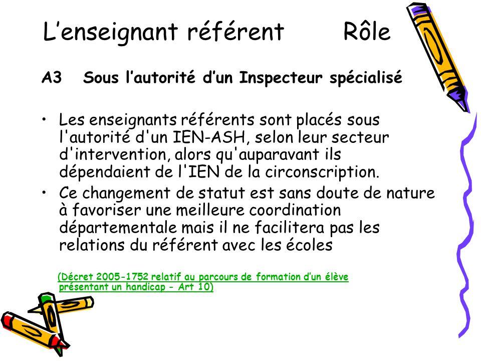 L'enseignant référent Rôle A3 Sous l'autorité d'un Inspecteur spécialisé •Les enseignants référents sont placés sous l'autorité d'un IEN-ASH, selon le